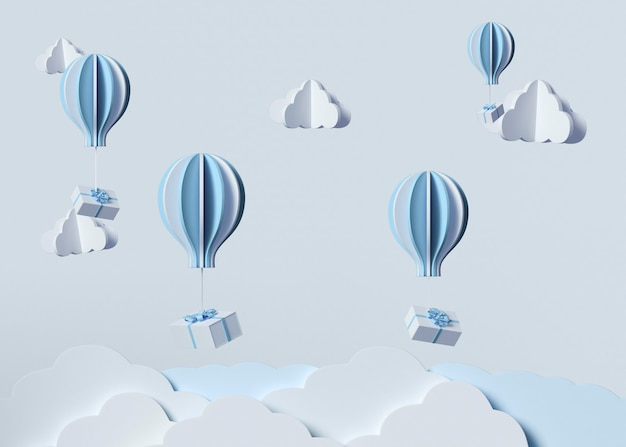 Modello 3d con nuvole e mongolfiere