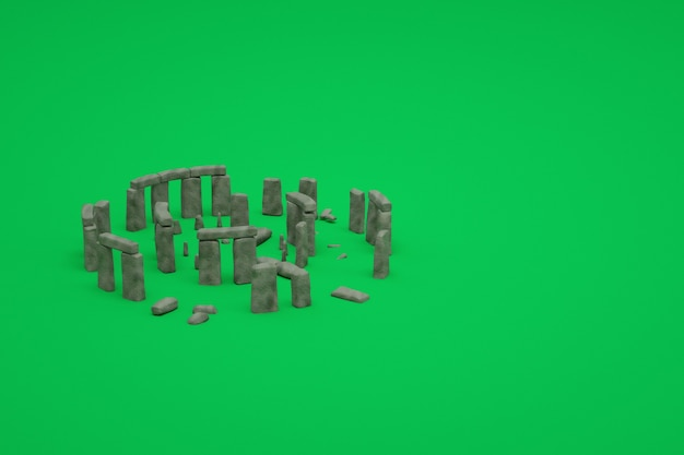 Modelli 3d di antiche rovine di pietra in rovina su uno sfondo verde isolato. rappresentazione 3d di antiche rovine. immagine 3d di antiche rovine, oggetti isometrici di vecchi edifici distrutti