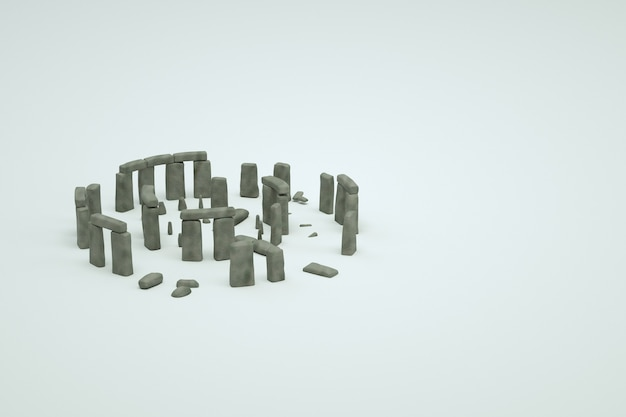 Modelli 3d di antiche rovine di pietra in rovina su uno sfondo bianco isolato. immagine 3d di antiche rovine, oggetti isometrici di vecchi edifici distrutti, grafica