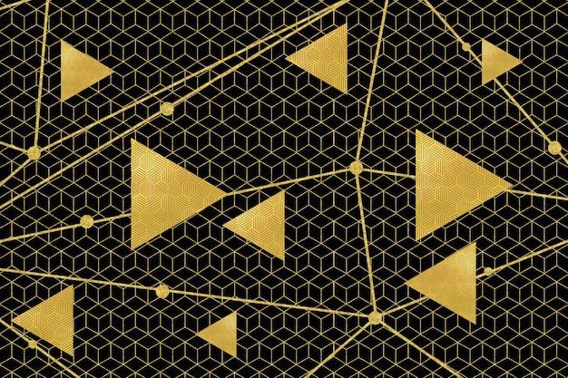 Carta da parati moderna astratta 3d murale linee dorate forme geometriche con triangoli e linee dorate
