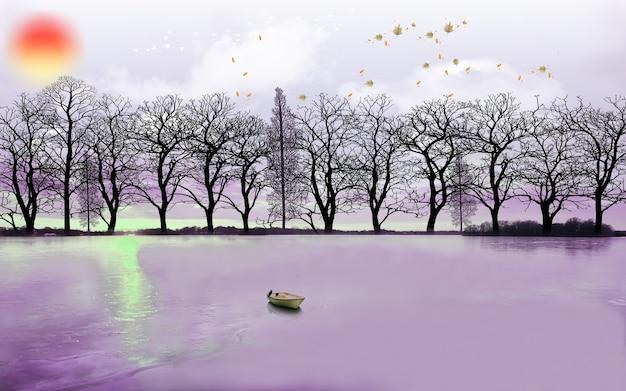 Carta da parati murale di arte moderna 3d con sfondo scuro foresta giungla scura