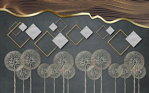 Carta da parati murale moderna 3d con linea dorata e sfondo quadrato grigio nero con dente di leone dorato