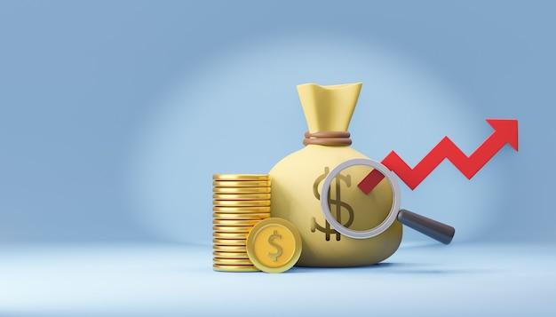 Borsa di soldi 3d con lente di ingrandimento e moneta di denaro. rendering dell'illustrazione 3d.