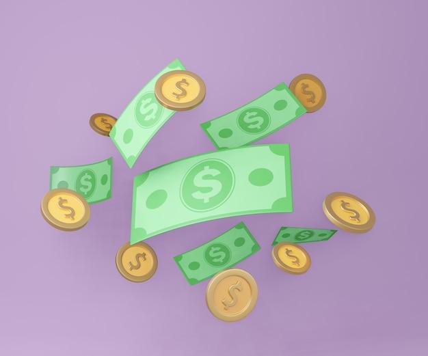 3d banconote e monete in denaro su sfondo viola. stile cartone animato. illustrazione della rappresentazione 3d.