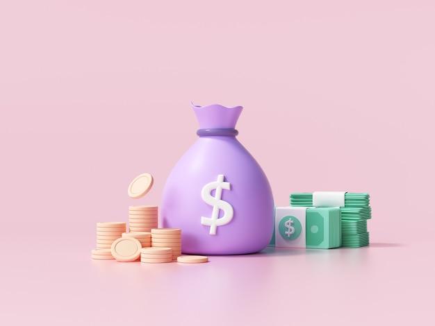 Concetto di denaro 3d. sacco di soldi, pila di monete e banconote. illustrazione rendering 3d