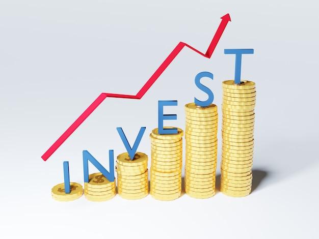 3d del risparmio di denaro e del concetto finanziario di investimento con freccia rossa in alto.