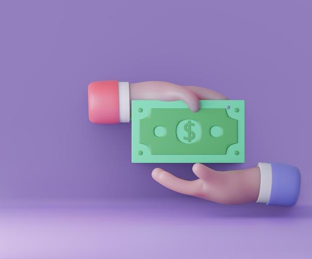 Concetto di trasferimento di denaro 3d con le mani e l'illustrazione dei soldi. rendering 3d e illustrazione.