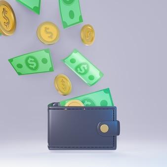 Portafoglio di denaro 3d con banconote e monete in dollari. rendering di illustrazioni 3d