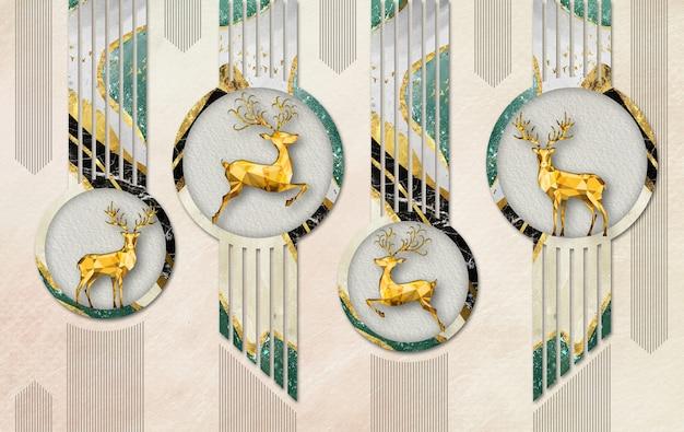 3d murale illustrazione carta da parati cervo d'oro in cerchi con linee