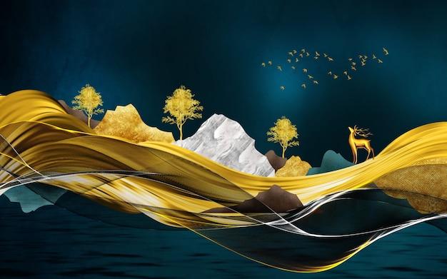 3d murale carta da parati illustrazione tela paesaggio su sfondo nero montagne verdi e blu