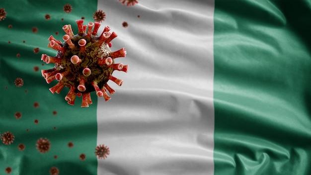 3d, sventola bandiera nigeriana e concetto di coronavirus 2019 ncov. focolaio asiatico in nigeria, coronavirus influenza come casi pericolosi di ceppo influenzale come una pandemia. virus del microscopio covid 19