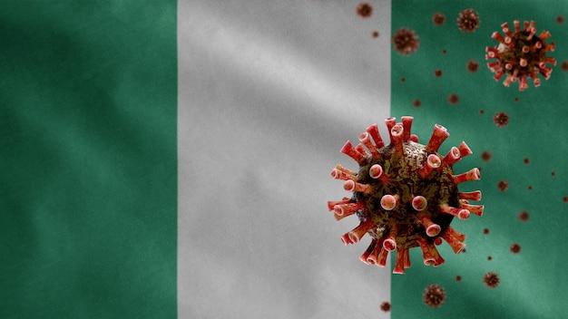 3d, bandiera nigeriana che sventola con focolaio di coronavirus che infetta il sistema respiratorio come influenza pericolosa. virus influenzale di tipo covid 19 con modello nazionale della nigeria che soffia sullo sfondo.