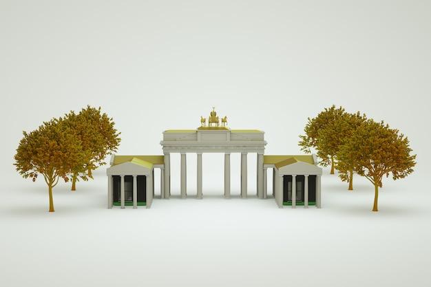 Oggetto 3d del punto di riferimento con colonne e una statua di cavalli in alto. ci sono alberi vicino al punto di riferimento. sfondo bianco isolato. avvicinamento