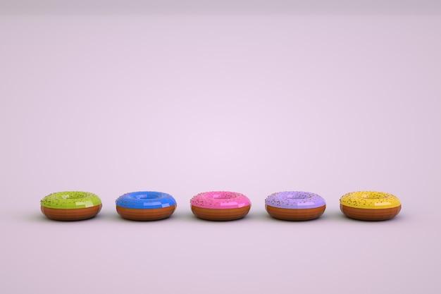 Oggetti 3d di ciambelle colorate su uno sfondo bianco isolato. modelli isometrici di ciambelle multicolori. pasticceria, grafica 3d. le ciambelle stanno in fila.