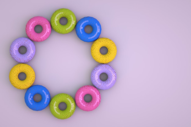 Oggetti 3d fatti di ciambelle colorate su uno sfondo rosa isolato. modelli isometrici di ciambelle multicolori disposte in cerchio. prodotti dolciari, grafica 3d. avvicinamento.