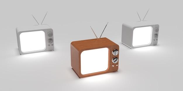 3d concetto creativo della vecchia televisione con superficie bianca