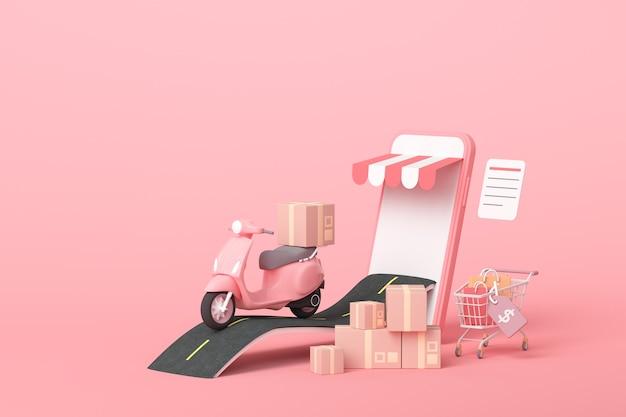 Concetto di servizio di scooter di consegna espressa online 3d