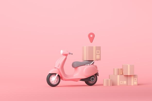 Concetto di servizio di scooter di consegna espressa online 3d Foto Premium