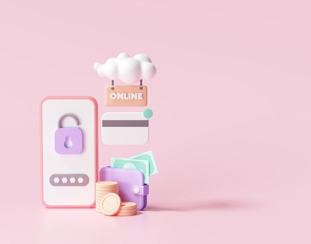 Pagamento sicuro online 3d tramite il concetto di smartphone. servizio di transazione bancaria via internet. tecnologia della società senza contanti