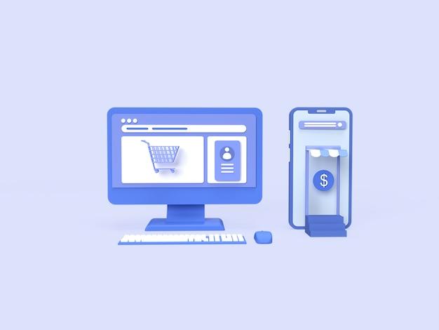 Concetto di negozio online 3d con komputer personale, immagine dello smartphone e concetto di colore di sfondo blu reso