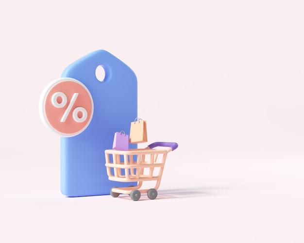 Concetto di sconto per lo shopping online 3d. giorno di supersaldi, offerta speciale di sconto. illustrazione di rendering 3d