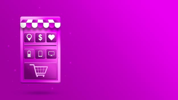 App mobile per lo shopping online 3d con le icone dei prodotti