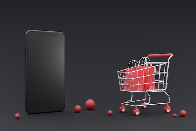 3d concetto di promozione dello shopping online con smartphone mock-up. su sfondo scuro. rendering 3d.