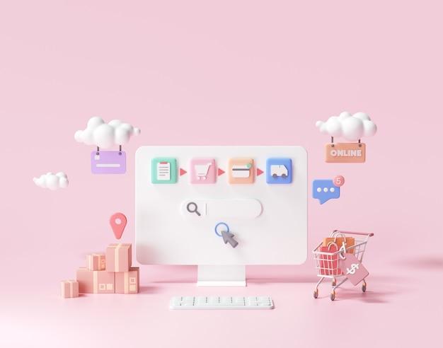 Acquisti online 3d sul concetto di pagina web. negozio online, rendering 3d