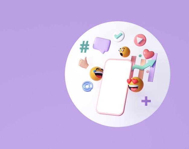 Concetto di piattaforma di comunicazione social media online 3d