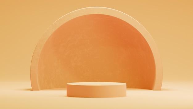 Podio arancione, giallo 3d con emisfero o arco su sfondo arancione.