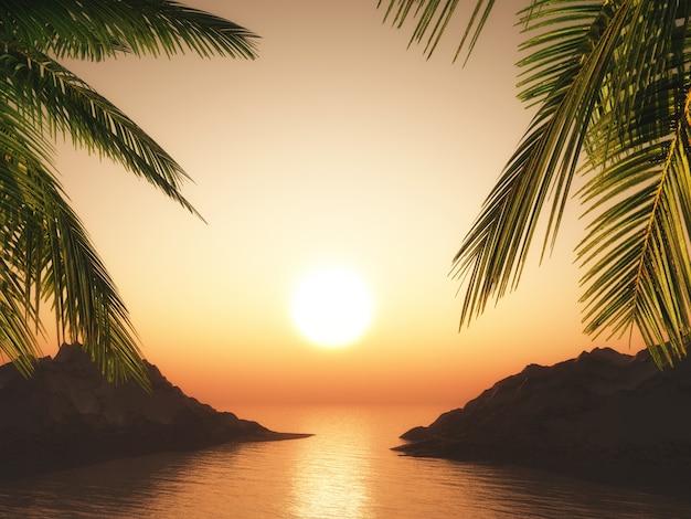 Palme 3d contro un paesaggio dell'oceano al tramonto