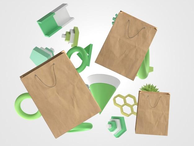 Disposizione dei sacchetti della spesa di carta 3d