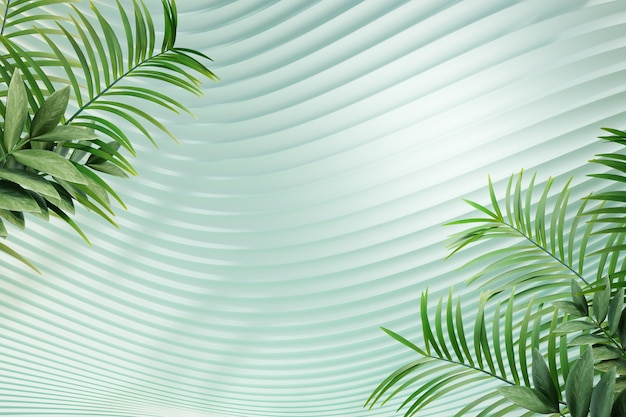 3d parete curva verde pastello con sfondo di palma con permesso verde. rendering dell'illustrazione 3d.