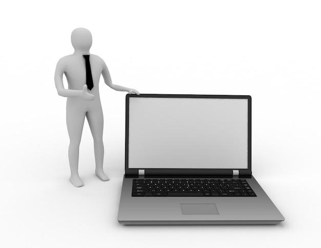 Persone 3d - carattere umano supportato da laptop