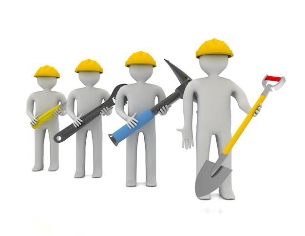 Persone 3d - carattere umano, squadra di operai edili