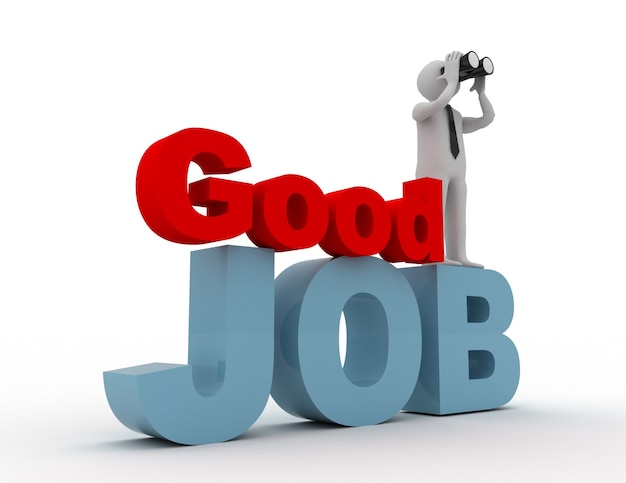 3d la gente - uomo, persona con un binoculare e parola buon lavoro. concetto di lavoro.
