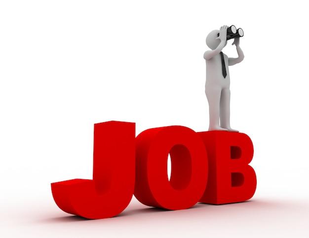 Persone 3d - uomo, persona con un binoculare e parola job. concetto di lavoro.