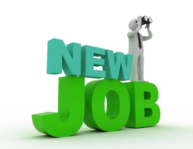 3d la gente - uomo, persona con un binoculare e parola nuovo lavoro. concetto di lavoro.