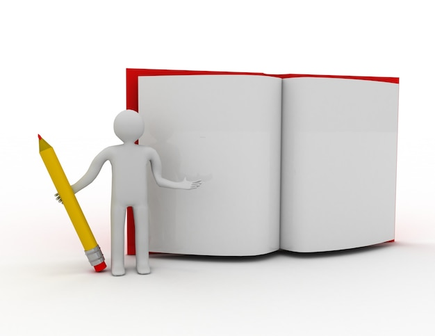 Persone 3d: uomo, persona con una matita e un libro