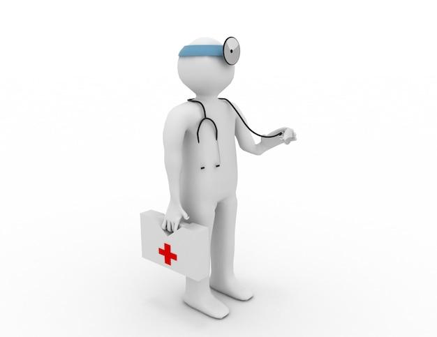 Persone 3d - uomo, persona con uno stetoscopio. medico