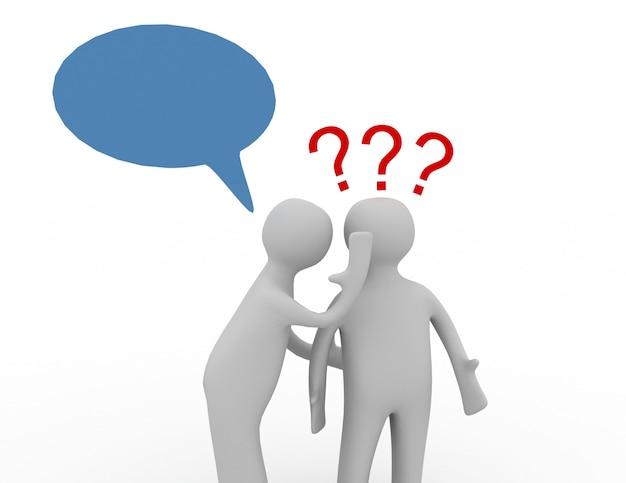 Persone 3d - uomini, persona sussurrata all'orecchio e punti interrogativi.