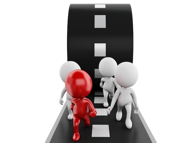 La gente 3d che funziona con un capo rosso su una strada. concetto di guida