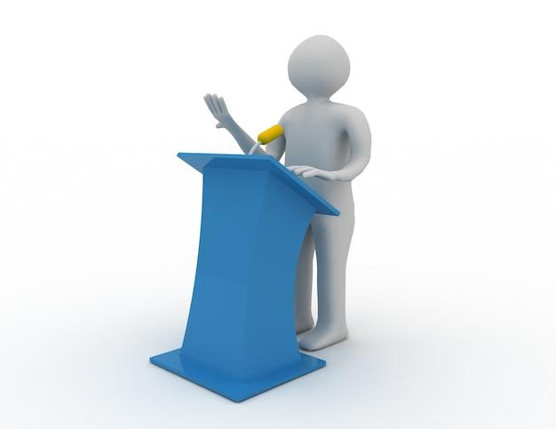 Persone 3d che parlano dietro il palco di parlare