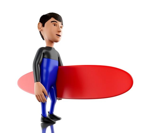 La gente 3d con il surf e l'attrezzatura d'uso.