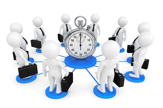 Uomo d'affari della persona 3d intorno al cronometro su un fondo bianco