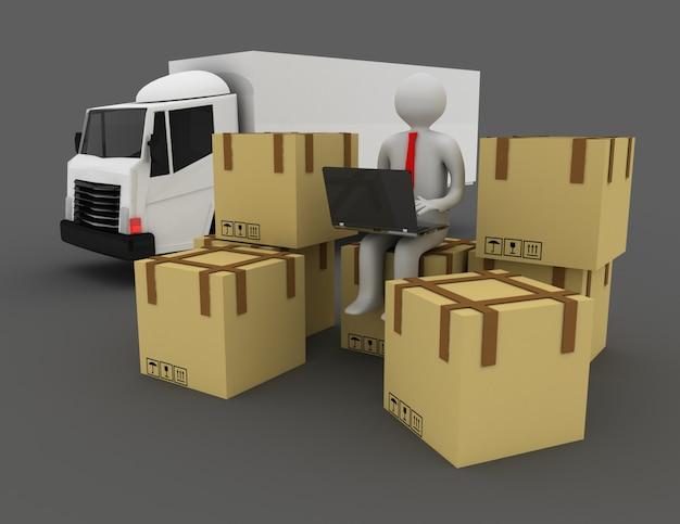 Persone 3d e scatole di cartone. illustrazione 3d