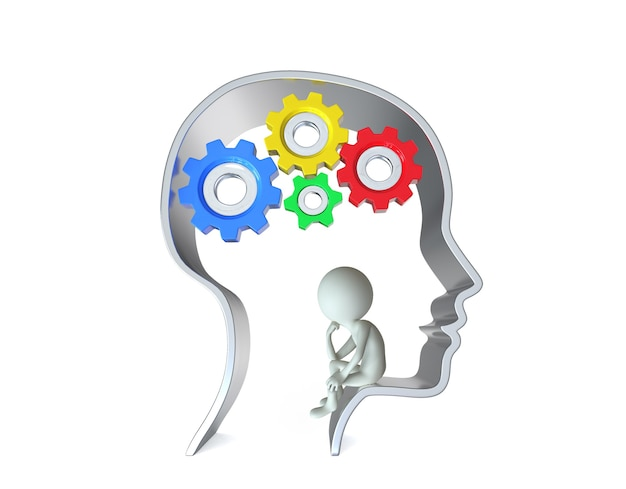 Persona 3d all'interno della testa umana con ingranaggi isolati