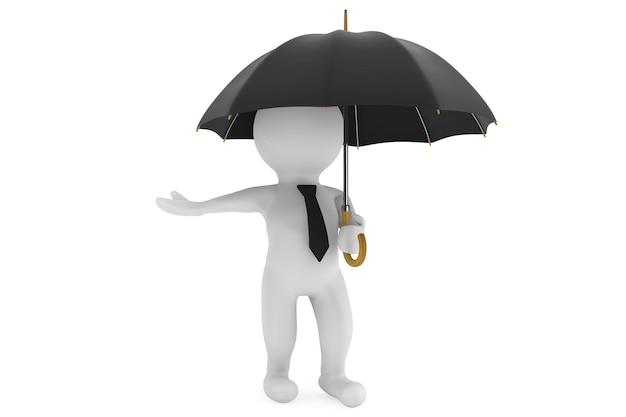 Persona 3d sotto l'ombrello di protezione su sfondo bianco