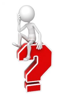 Persona 3d che si siede sul punto interrogativo rosso.