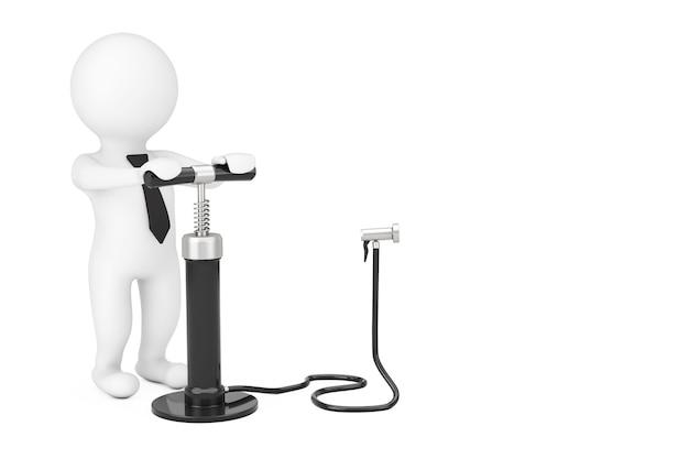 Persona 3d con pompa di aria a mano nera vicino a spazio vuoto per il tuo oggetto o testo su sfondo bianco. rendering 3d